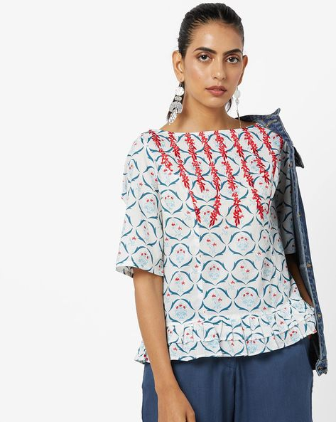 Printed Peplum Top With Embroidery By AJIO ( Offwhite )