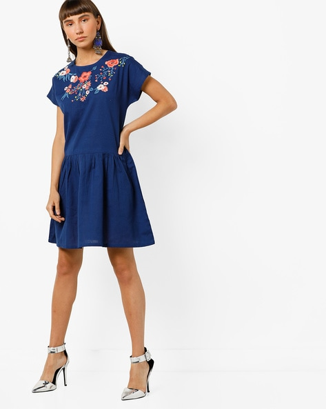 A-line Dress With Floral Embroidery By AJIO ( Blue )