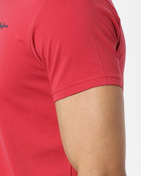 V-neck T-shirt With Signature Branding By Pepe Jeans ( Red )