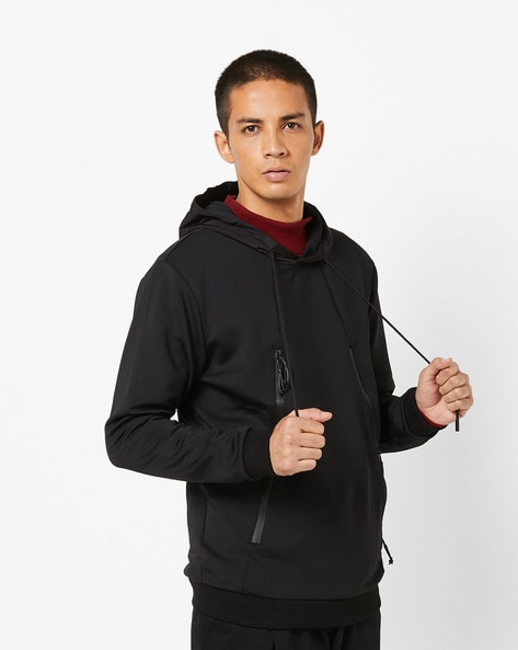 Panelled Hoodie With Zippered Pockets By The Indian Garage Co ( Black )