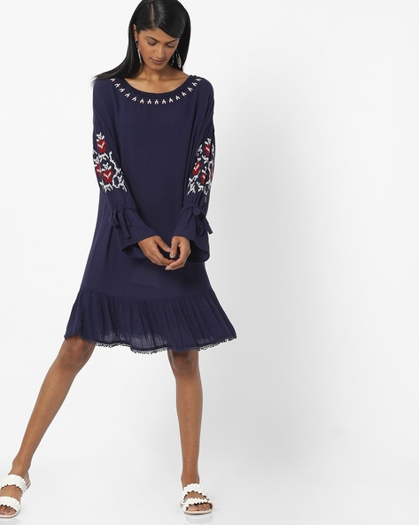 Shift Dress with Sleeve Tie-Ups