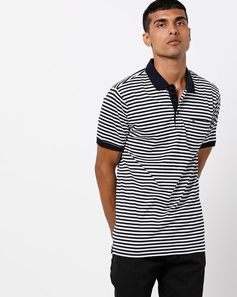 Striped Slim Fit Polo T-shirt By CRIMSOUNE CLUB ( Navy )
