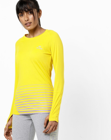 Thumbhole Crew-Neck T-shirt With Raglan Sleeves By ALCIS ( Yellow )