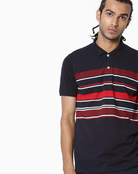 Striped Slim Fit Polo T-shirt By NETPLAY ( Navy ) - 440794787004