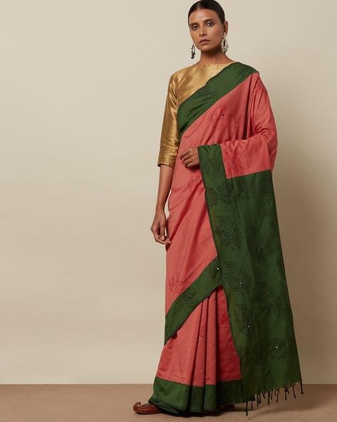 Handblock Print Varsha Mirror-Work Saree By Indie Picks ( Pink )