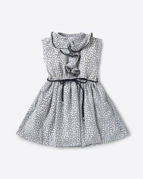 7f03e52bc93 Peppermint Off-White Fit and Flare Printed Sleeveless Fit   Flare Dress  with Ruffles