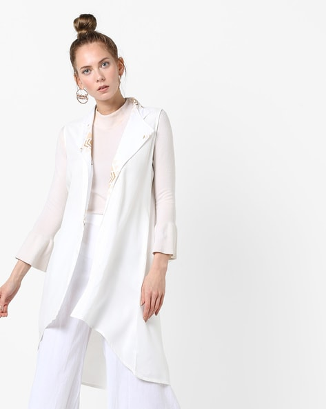 Sleeveless Jacket With Notched Lapels By AJIO ( Offwhite )