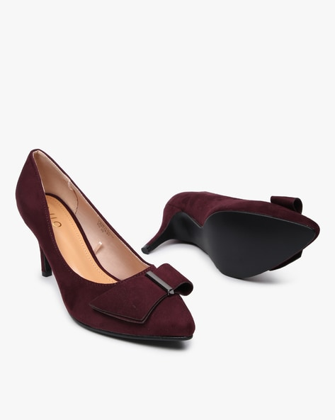 Pointy-Toe Pumps With Bow By AJIO ( Maroon )