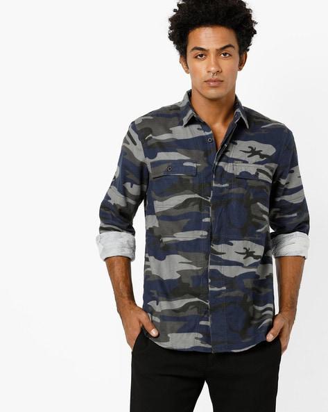 Slim Fit Camouflage Print Shirt By AJIO ( Olive )