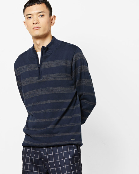 Striped High-Neck Pullover With Ribbed Hems By AJIO ( Navy )