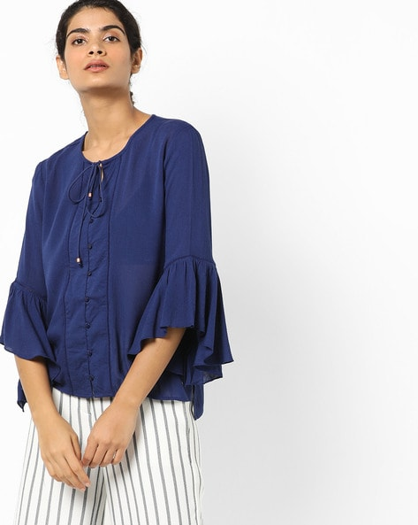 Bell Sleeves Top With Full Button Placket By Only ( Darkblue )