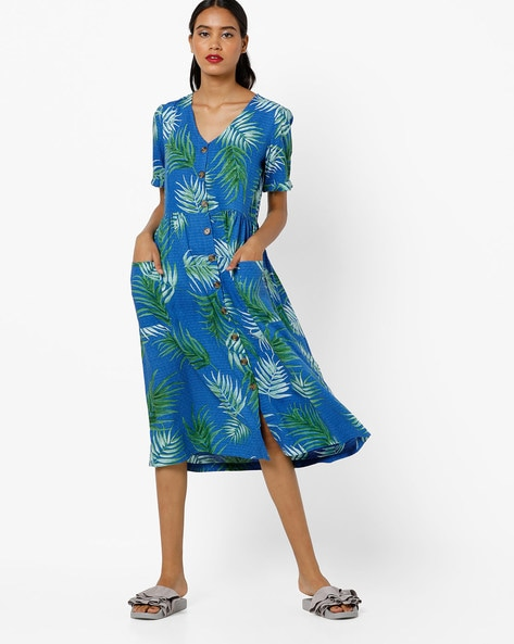 Leaf Print V-neck Shift Dress By AJIO ( Blue )