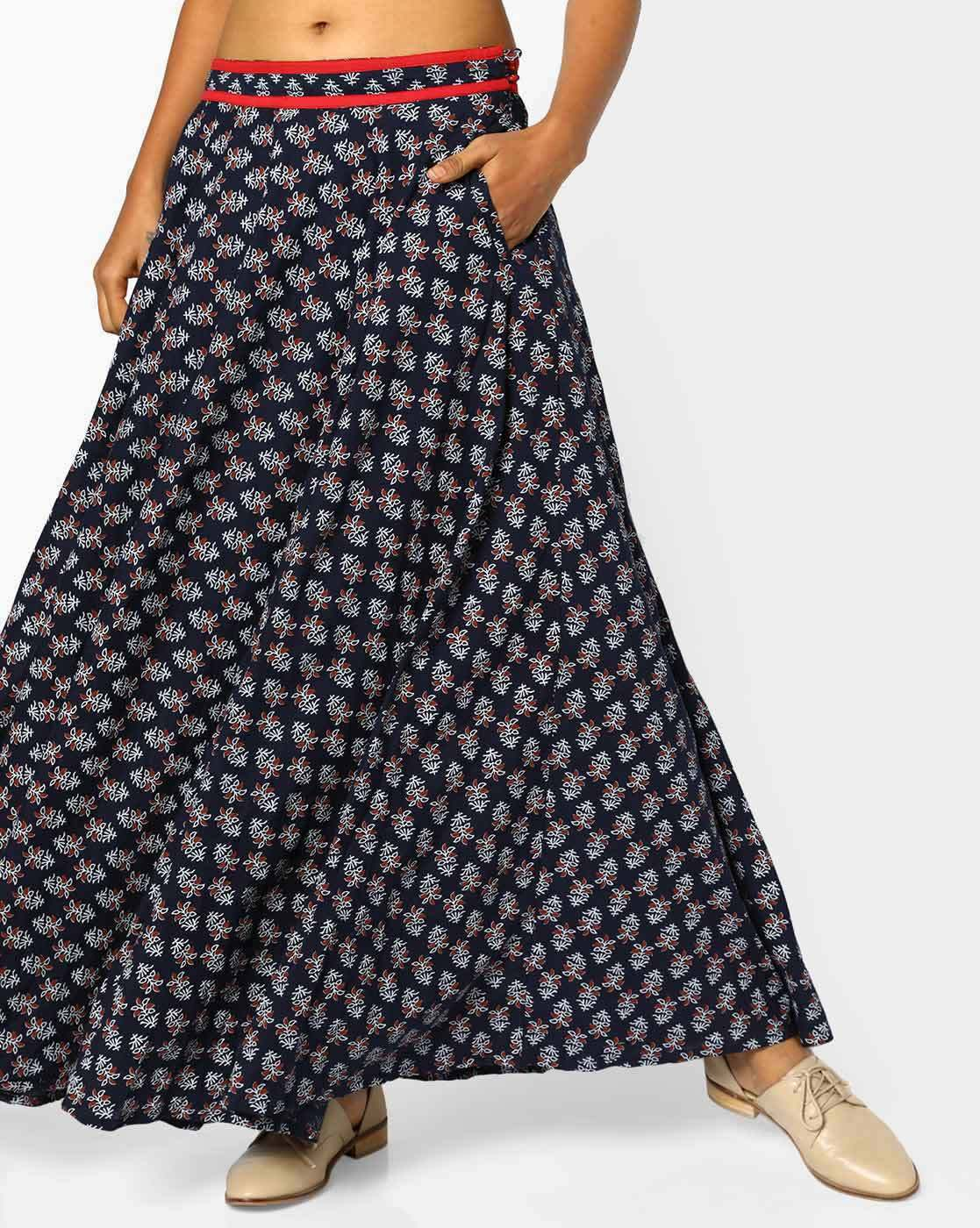 d9bc4087b9 Buy Indigo Blue Skirts & Ghagras for Women by AJIO Online | Ajio.com