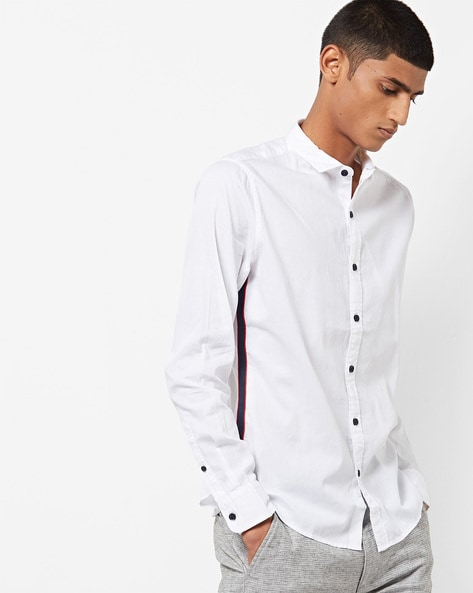 88e14d8d Slim Fit Shirt with Contrast Side Taping