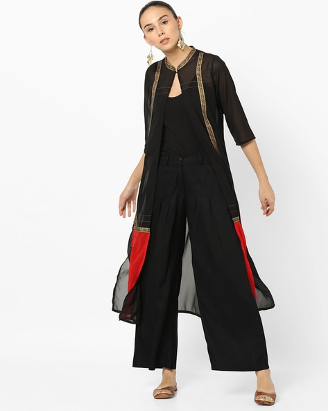 Panelled Open-Front Shrug With Mandarin Collar By AURELIA ( Black )