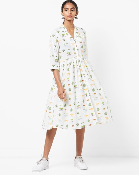 Printed A-line Midi Dress By AJIO ( White )