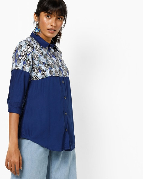 Shirt With Contrast Print Yoke By UNTUNG ( Blue )