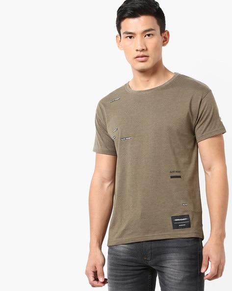 3604ef693c43 AJIO Olive Green Crew Placement Print Slim Fit Crew-Neck T-shirt