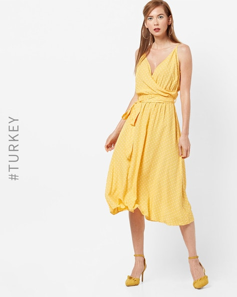 Polka-Dot Print A-line Midi Dress By TRENDYOL ( Yellow )