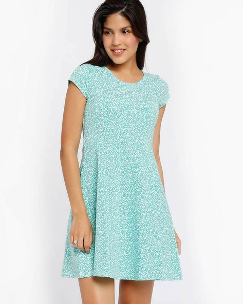 Printed Skater Dress By Honey By Pantaloons ( Turquoise )