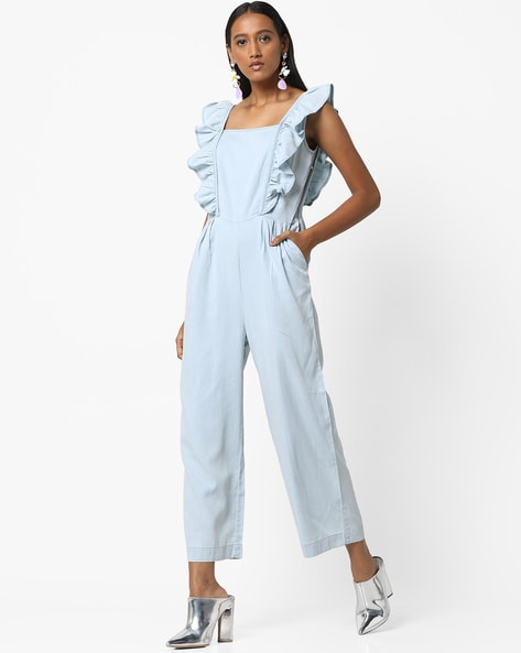 41ef5be8734 AJIO Blue Jumpsuits Sleeveless Jumpsuit with Ruffled Panels