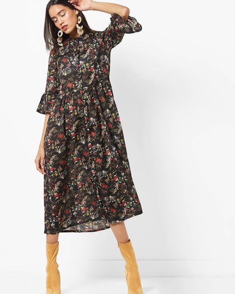 Floral Print Midi Shirt Dress By AJIO ( Black )