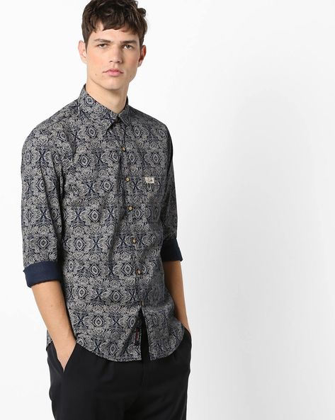Printed Slim Fit Shirt With Patch Pocket By U.S. Polo Assn. ( Blue )