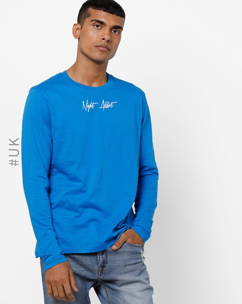 Crew-Neck T-shirt With Embroidered Branding By NIGHT ADDICT ( Blue )