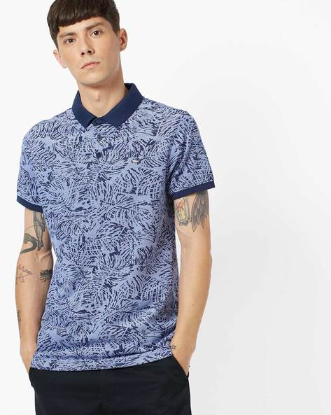 Slim Fit Tropical Print Polo T-shirt By SPYKAR ( Ink )