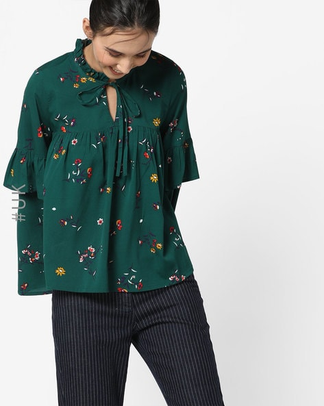 Floral Print Top With Flute Sleeves By INFLUENCE ( Green )