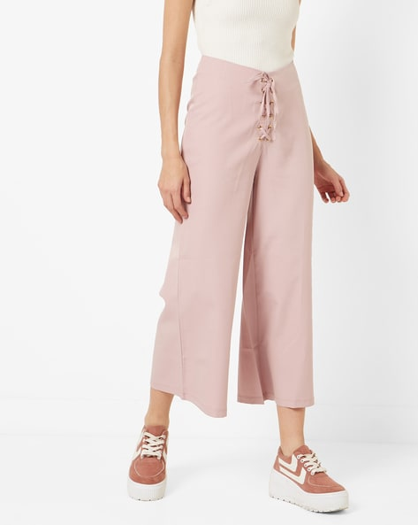 Culottes With Front Lace-Up By AJIO ( Pink )