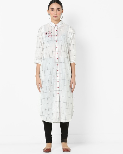 Checked Straight Kurta With Embroidery By AJIO ( Offwhite )