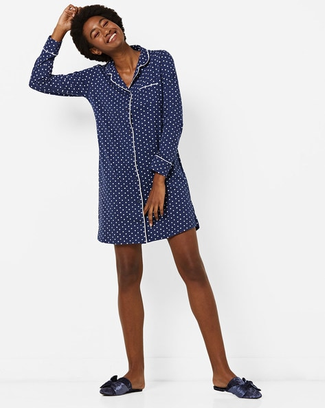Polka-Dot Print Lounge Shirt Dress With Notched Lapel By Slumber Jill ( Navyblue )