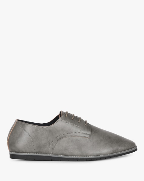 Low-Top Lace-Up Casual Shoes By AJIO ( Grey )