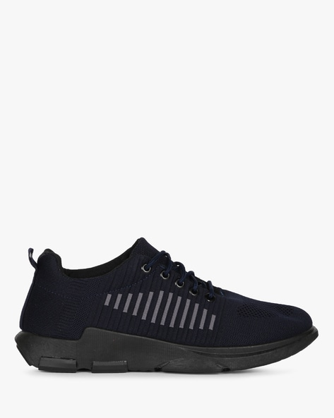 Low-Top Knitted Lace-Up Sneakers By AJIO ( Navy )