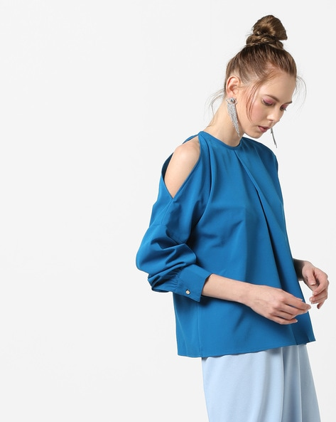 One-Sided Cold-Shoulder Top By AJIO ( Teal )