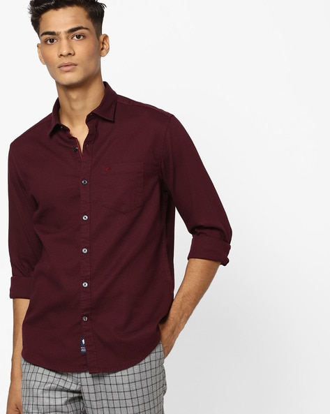 268c47fca Buy Burgundy Shirts for Men by NETPLAY Online
