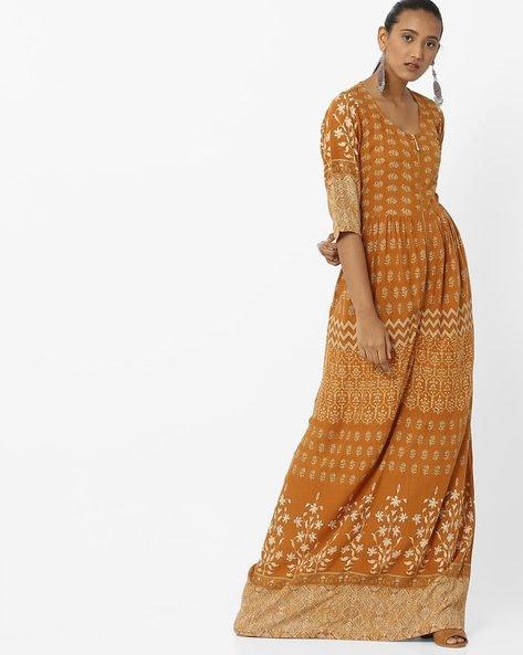 Floral Print Flared Maxi Dress By Aujjessa ( Mustard )