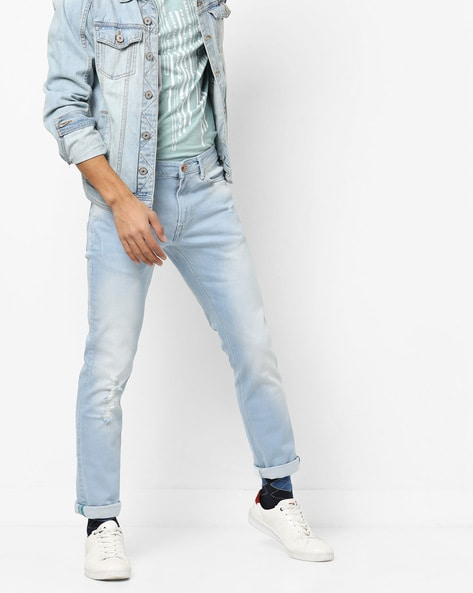 Skinny Distressed Jeans By UNITED COLORS OF BENETTON ( Lightblue )
