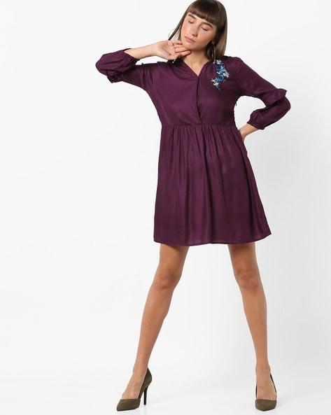 V-neck Shift Dress With Ruffle Panels By AJIO ( Purple )