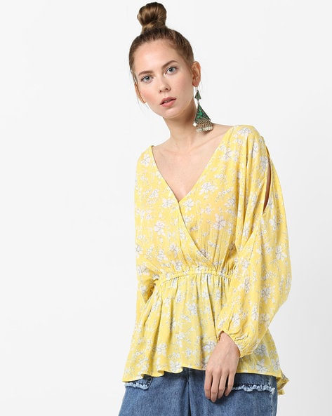 Floral Print Top With Surplice Neckline By Rena Love ( Yellow )