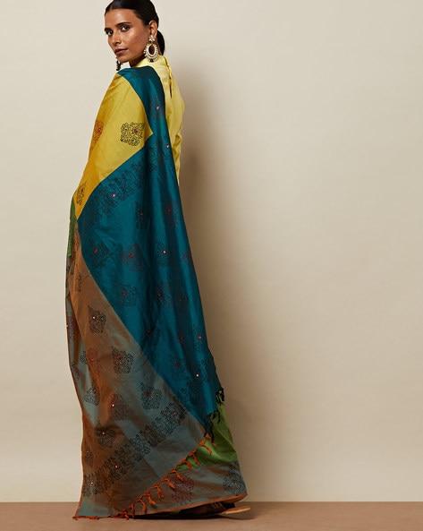 Handblock Print Half & Half Saree With Mirrorwork By Indie Picks ( Multi )
