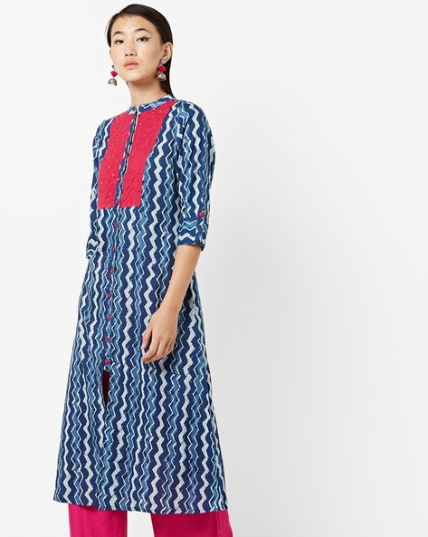 Printed Cotton Kurta With Pants By Jaipur Kurti ( Blue )