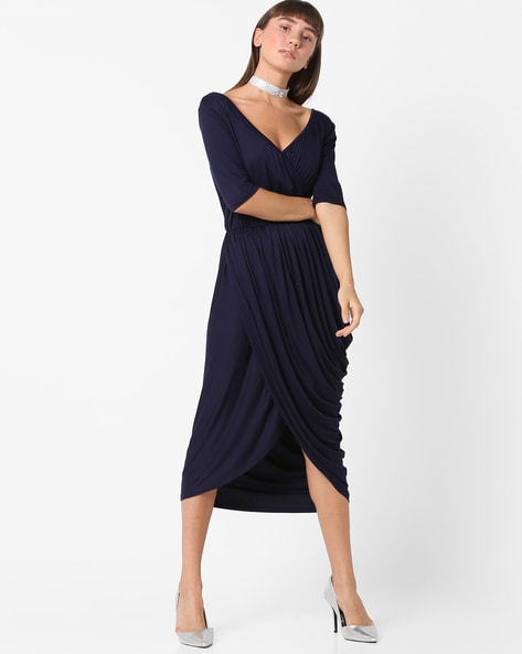 Deep V-neck Pleated Dress With Tulip Hem By Femella ( Navyblue )