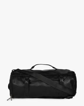 5965f2fbda2d AJIO Black Duffle Bags Duffle Travel Bag with Adjustable Shoulder Straps