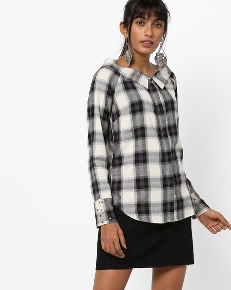 Checked Shirt With Embellished Cuffs By AJIO ( Black )