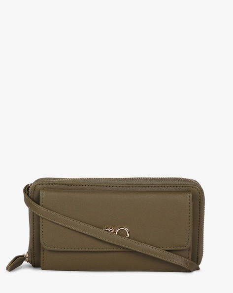 Zip-Around Wallet With Detachable Strap By E2O ( Olive )