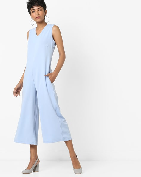 Sleeveless Culottes Jumpsuit By AJIO ( Blue )