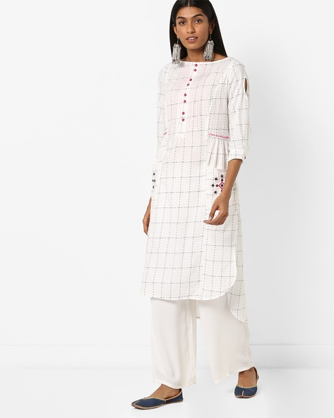 Checked Straight Kurta With Embroidered Pockets By AJIO ( Offwhite )