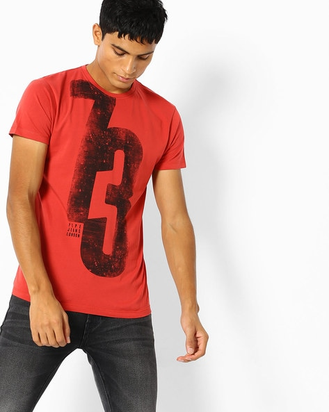 daa5d0a151 Pepe Jeans Red Crew Numerical Print Crew-Neck T-shirt